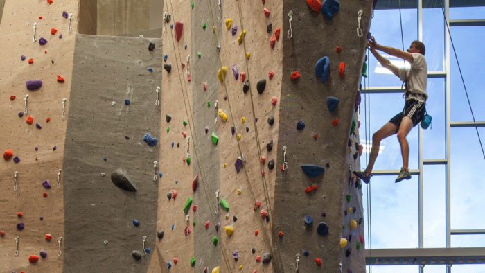 4. Climb the huge rock wall at UNL's Outdoor Adventure Center in Lincoln.