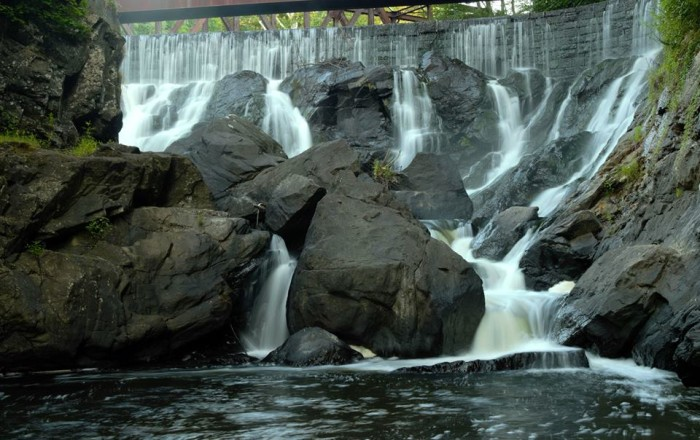 Yantic Falls is located in Norwich, just off Route 2, and stands at forty feet tall.