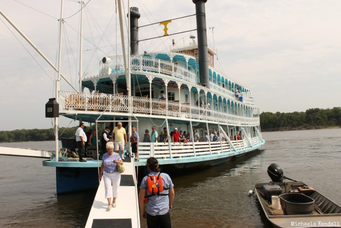 After the boat docks at the location, whether it's Guttenberg or Dubuque, passengers are free to disembark and explore the city.