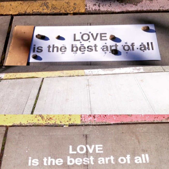 """Stencils and a super-hydrophobic coating (""""Invisible Spray"""") are used to create the messages. They can be put on nearly any surface that can get wet – especially clean concrete. The spray won't work on smooth surfaces though, like metal, plastic and glass, since they're not absorbent."""