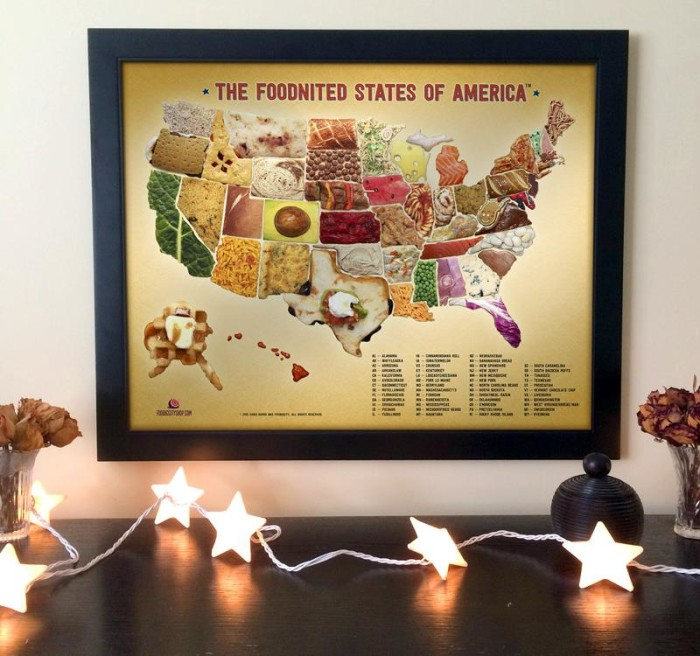 What to feast your eyes on all these scrumptious states at home, in the office, or in your underground lair? You can now get the whole ensemble of edible states in a gorgeous print.