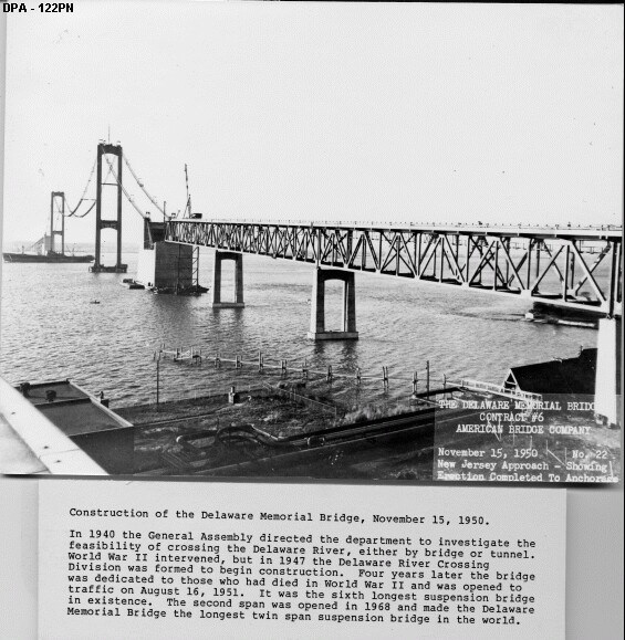 1. The first span of the Delaware Memorial Bridge accepted its first vehicles in 1951. The second span didn't open until 1968, at the time making it the longest twin span suspension bridge in the world.