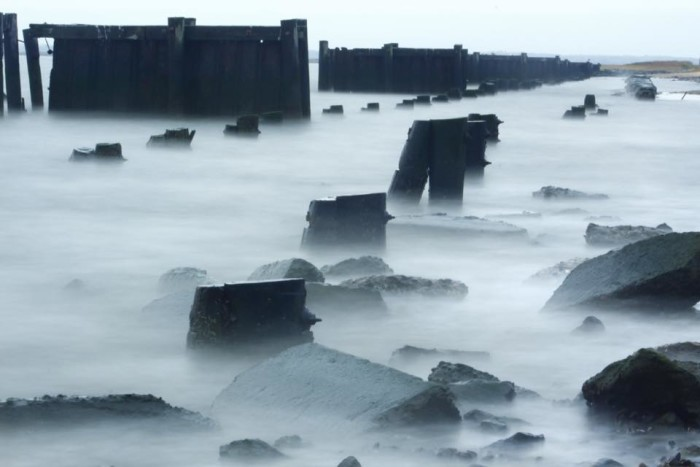 4. The mist over the abandoned pilings and rip rap at Port Mahon make the spot seem especially desolate.