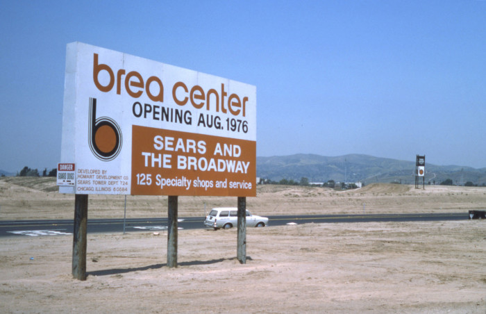 8. Sign announcing the opening of the Brea Center in 1976. Things sure look quite a bit different now.
