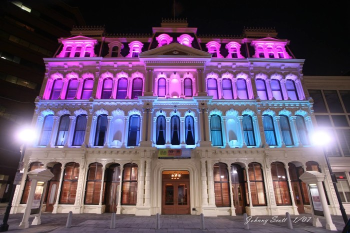 5. The Grand Opera House in Wilmington illuminated with multicolored light