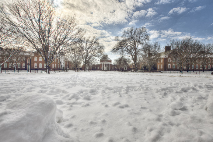 4. The red bricks of the University of Delaware buildings pop against the white of all that snow.
