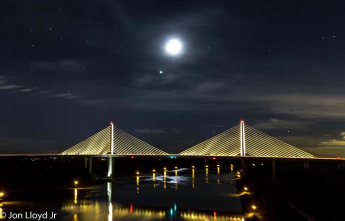 8. A perfectly positioned full moon above the Roth Bridge