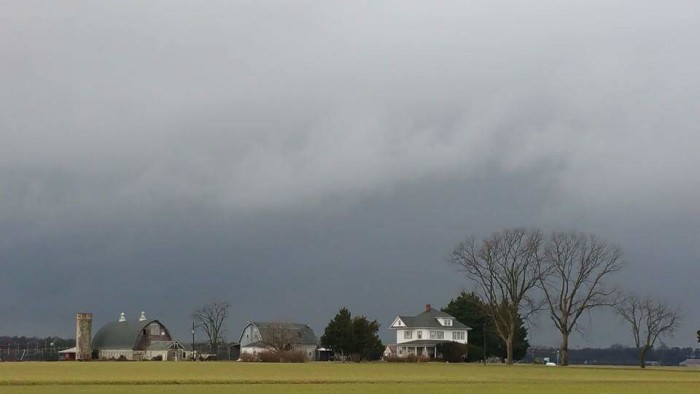11. There's something somber about the stormy sky above this farm west of Seaford.