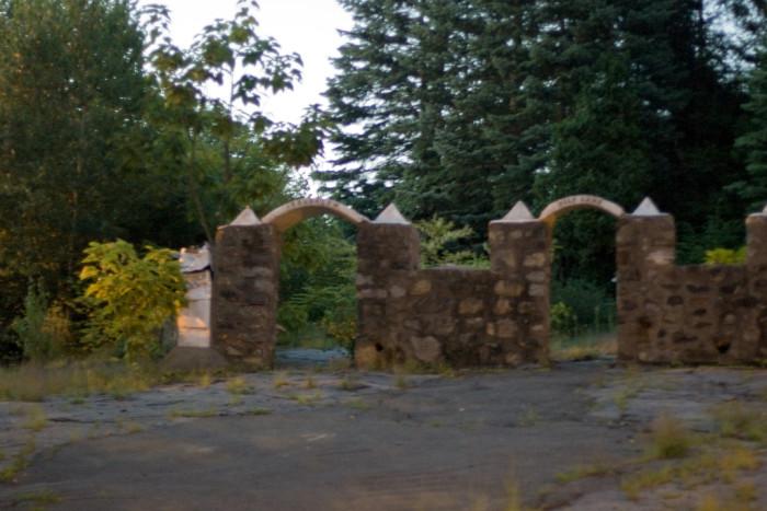 You entered the park through stone arches.
