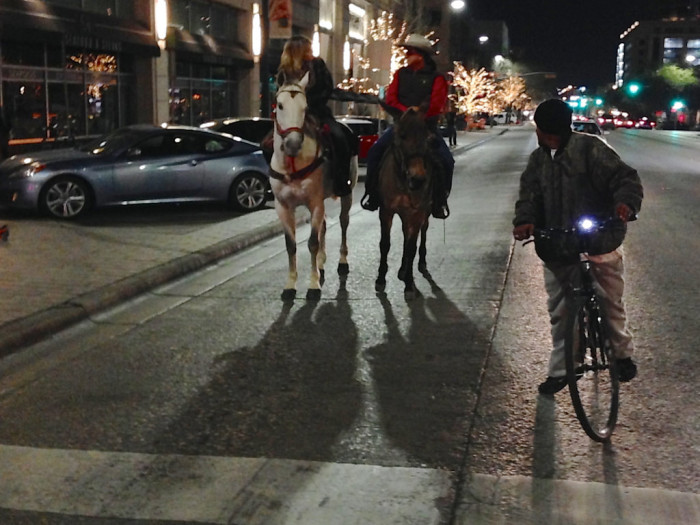 2. We're cowboys - Okay, so this isn't what it looks like. It's just two happy people, riding horses...in downtown Austin.