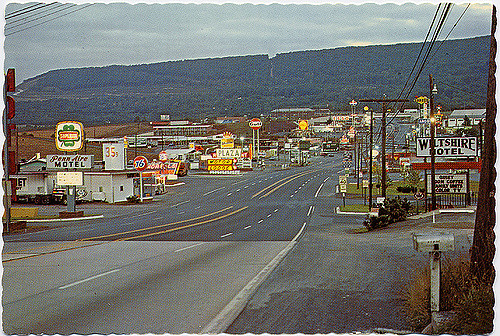 4. Breezewood, Pennsylvania as it looked in the 1970s.