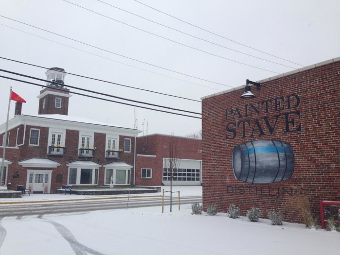 13. All looks quiet at the  Smyrna Fire House and Painted Stave Distilling as the snow falls.
