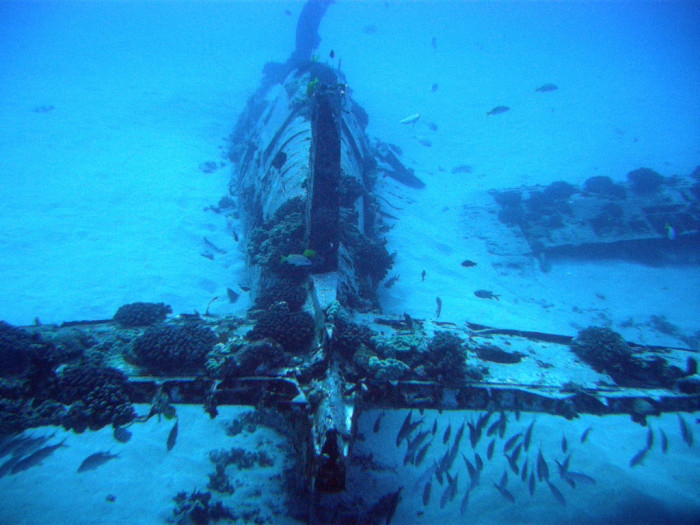 14. Head underwater to explore the Corsair airplane wreck.