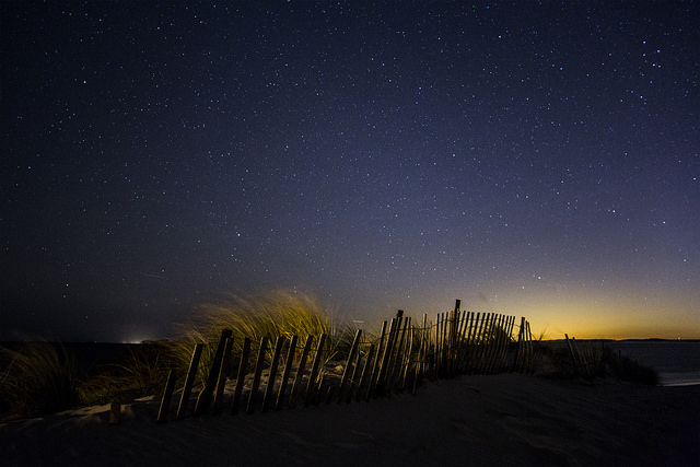 1. The night sky in this photo taken at Napatree Point is stunning.