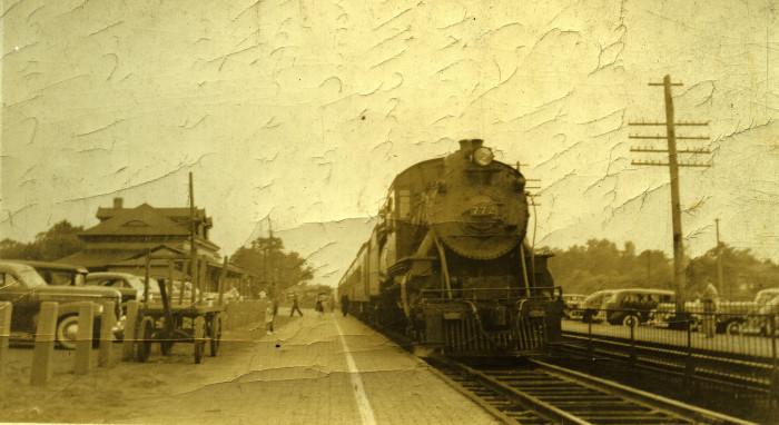 7. Engine 772 at the Spring Lake train depot, 1941.