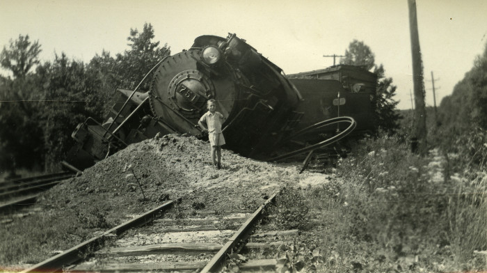 6. The derailment of engine 751, taken in Spring Lake circa 1941.