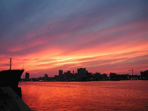 3. A gorgeous glimpse of the sun setting over Baltimore.