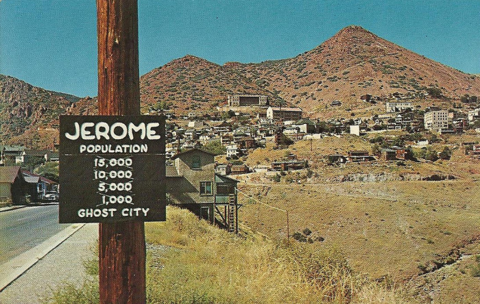 2. And this image of Jerome from a 1960s-era postcard looks pretty similar to Jerome today.