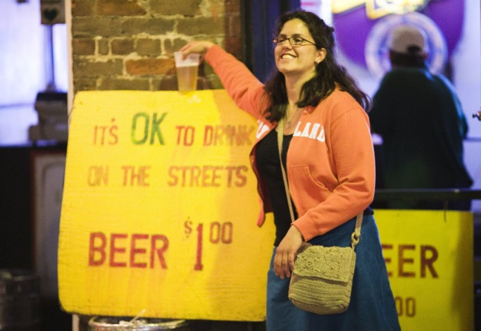 2) Walk down the street with your beer.