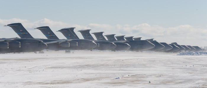 12. Airplanes at Dover Air Force Base grounded due to the snow.