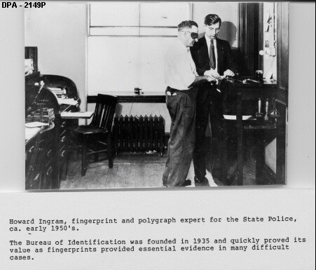 7. Dating back to the establishment of the Delaware State Police Bureau of Investigation in 1935, fingerprinting (shown here in the 1950s) was used to help solve tough crimes.