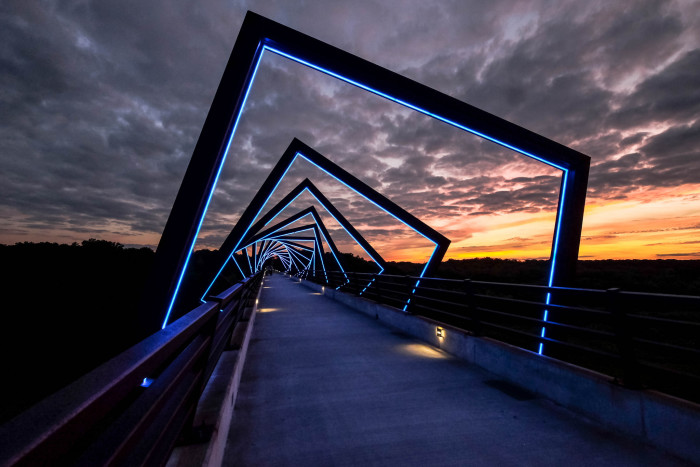 11. Go biking on the High Trestle Trail between Ankeny and Woodward, and be sure to see the High Trestle Bridge at night.