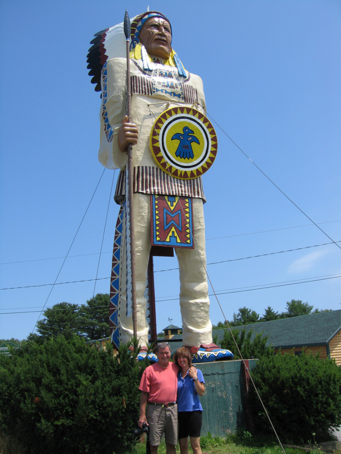 6. A giant Indian watches over us.
