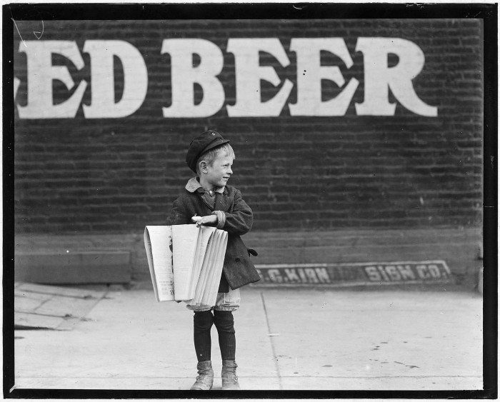 2.Regular seller, Francis Lance, is 5 years old and 41 inches high. He is busy working in St. Louis, May 1910.