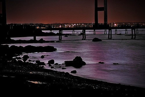 10. Looking over the bridge from Jamestown at night time should be done at least once a summer if possible.