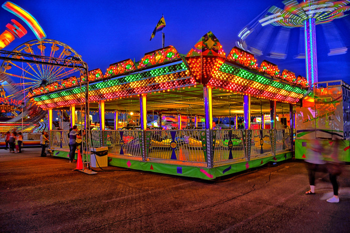 7. The colors of the midway at the Delaware State Fair light up the night
