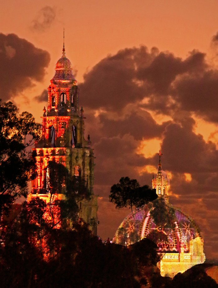 3. The California Tower at Balboa Park in San Diego lights up  a menacing sky.