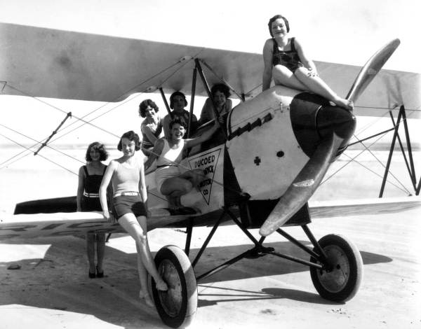 Young women on airplane - Jacksonville Beach