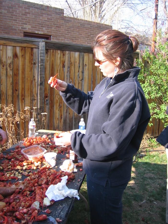 8. Failing miserably at eating crawfish.