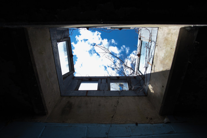And ceilings left in disarray provide a makeshift skylight.