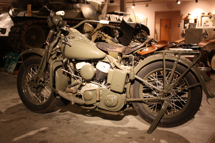 14. A WWII-era Harley Davidson Motorcycle is on display at the Wright Museum in Wolfboro.