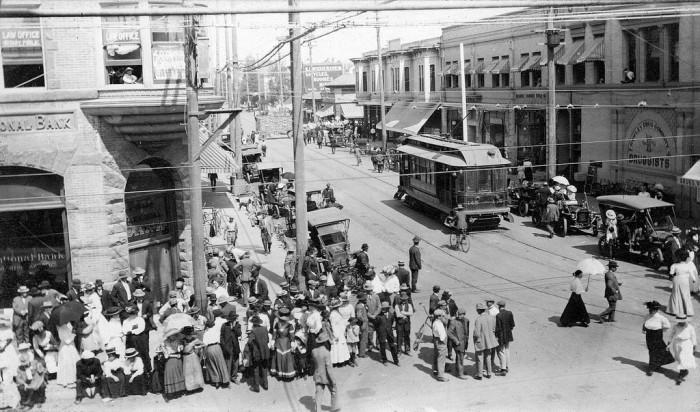 15.  A glimpse of Santa Ana circa 1910 at Fourth Street and Main during the Ringling Bros. Circus parade.