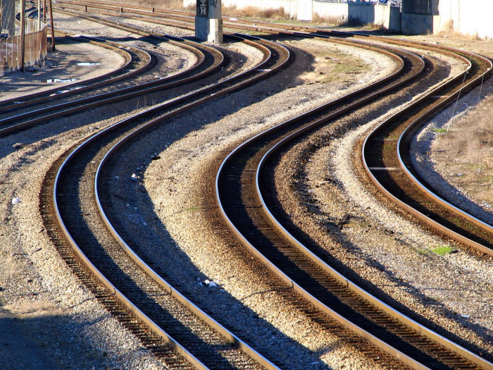 20) A swift rush of railroad tracks.