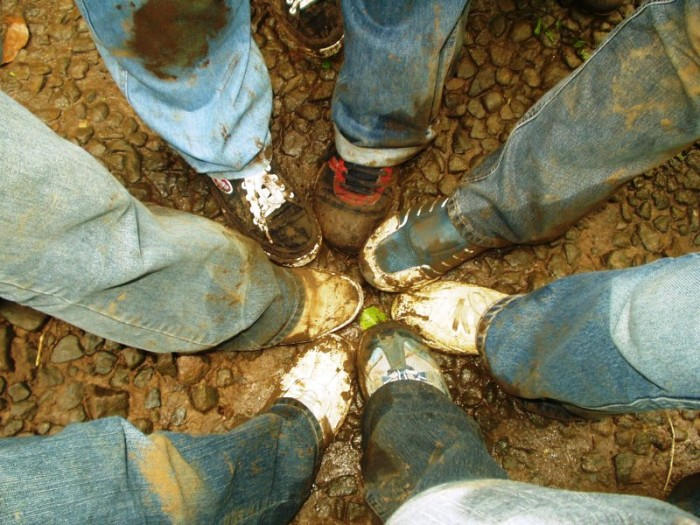 7. Hiking in the mud.