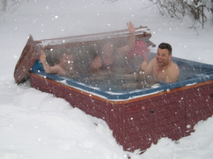 12.  Enjoy an outdoor hot tub in the middle of winter.