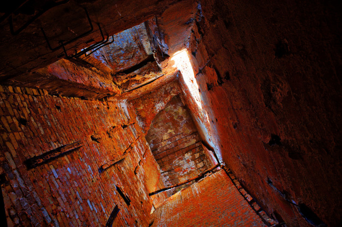 """5. """"Elevator Shaft. (A favorite mysterious room in the massive, deserted cement plant at Mildred, Kansas.)"""""""