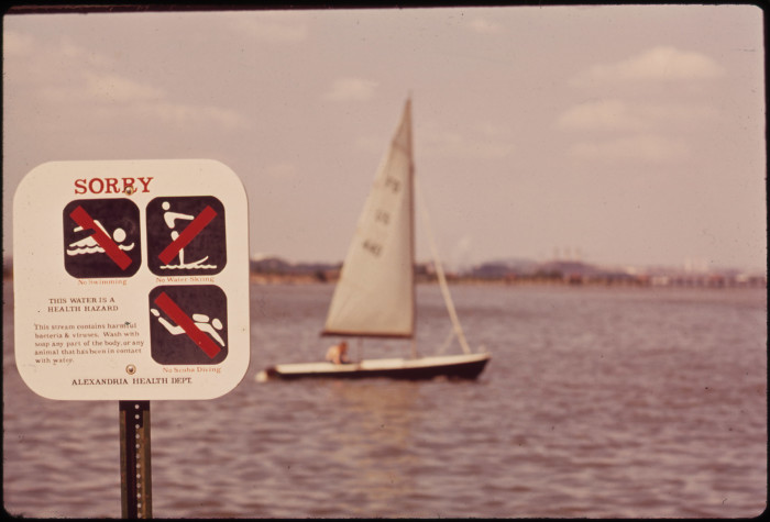 2. This sign warns Arlington residents against swimming in the polluted Potomac River.
