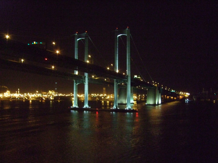 11. The faint green of the Delaware Memorial Bridge aglow in the lights from the shore