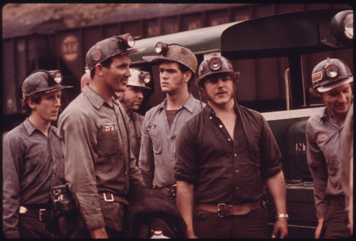 7. A group of miners waits to begin their midnight shift at the Virginia Pocahontas Coal Company in 1974.