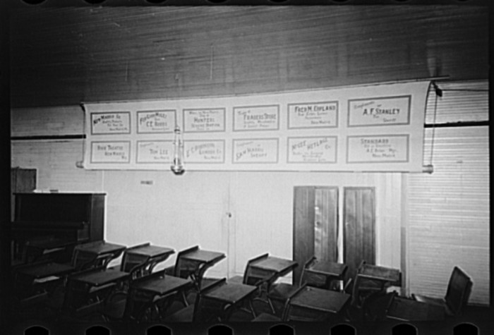 4.	Southeast Missouri Farms. Interior of schoolhouse, La Forge, May 1938.
