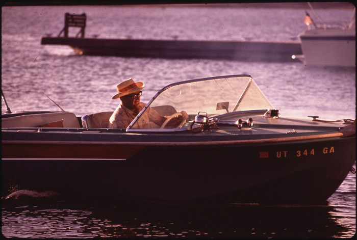 5. A man enjoys a boat ride on Lake Powell in 1973.