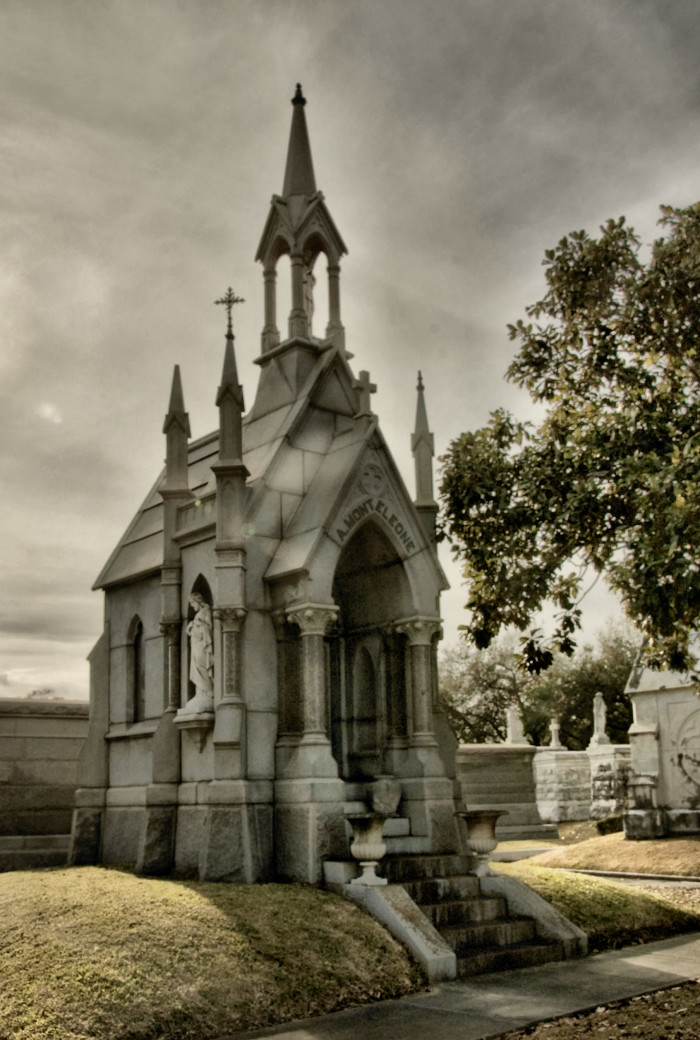 This church-like tomb is home to members of the Monteleone family.