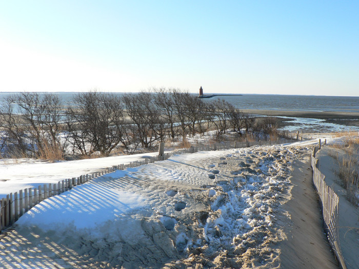 9. The point at Cape Henlopen State Park on a snowy horizon.