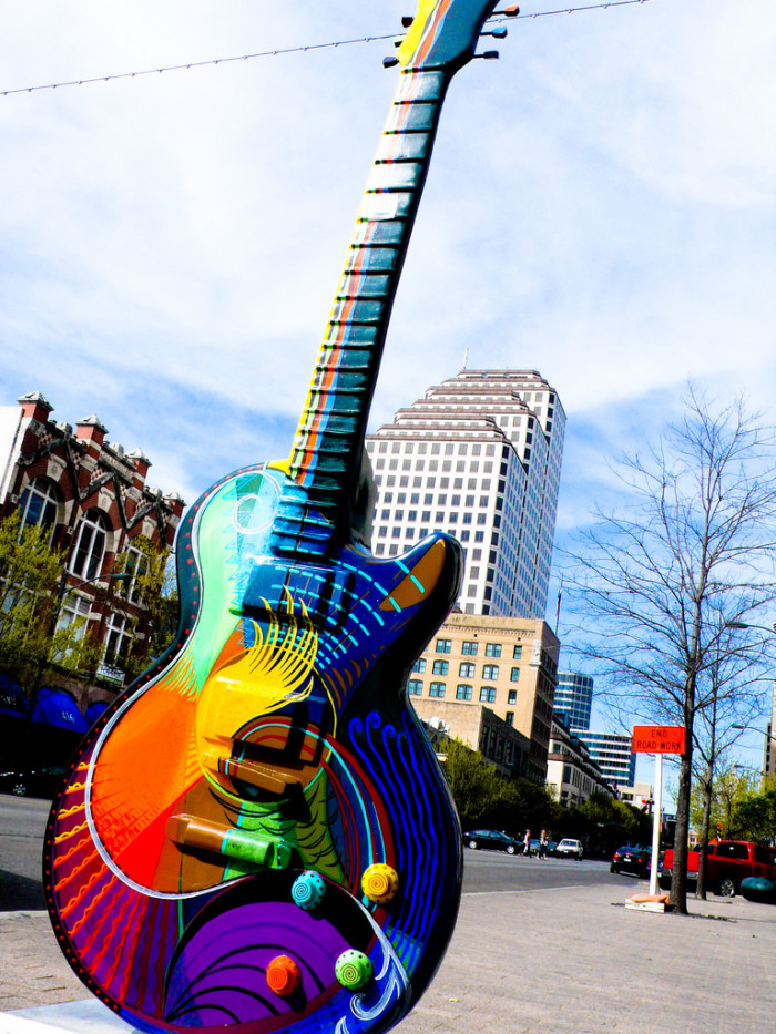 4. Colorful guitars scattered throughout downtown Austin.