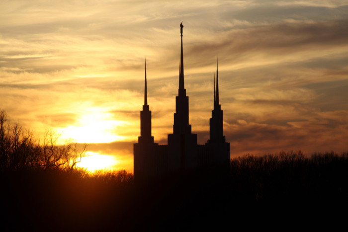 8. The last few moments of sunlight at the DC Mormon Temple.