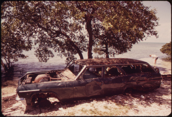 9. Big Touring Car Abandoned at Little Duck Key, a Small Undeveloped and Uninhabited Island in the Lower Florida Keys Usually Used for Fishing and Camping.